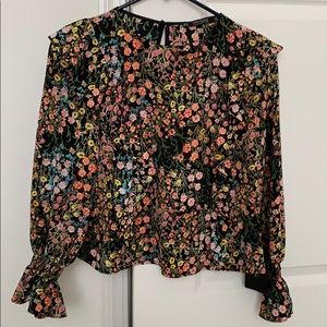 Zara Floral Printed Blouse with Frills, Size XS